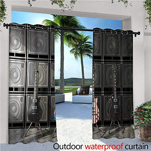 homehot American Flag Exterior/Outside Curtains Black and Us Bass Guitar Electronic Rock Music Theme Digital Graphic Work for Patio Light Block Heat Out Water Proof Drape W72 x L96 ()