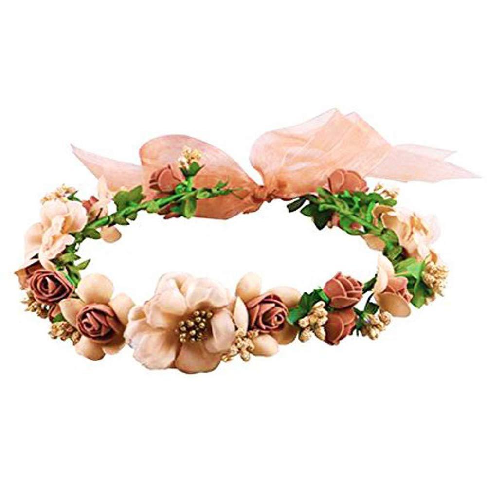 HAKACC Flower Crown/Wedding Fairy Hair Wreath Floral Headband Garland with Adjustable Ribbon for Wedding Christmas gift Festivals Brown