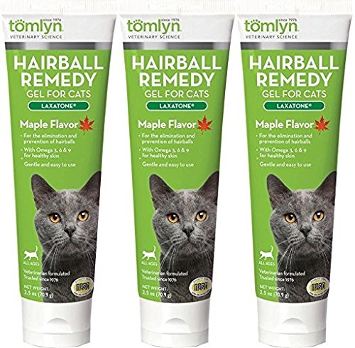 Tomlyn 3 Pack of Laxatone Hairball Remedy Gel for Cats, Maple Flavored, 2.5 Ounces each