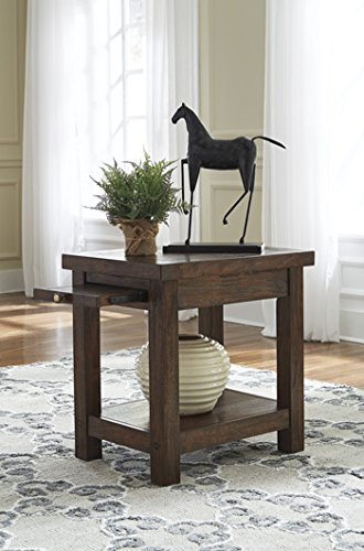 Signature Design by Ashley T862-7 Windville Chair Side End Table, Dark Brown