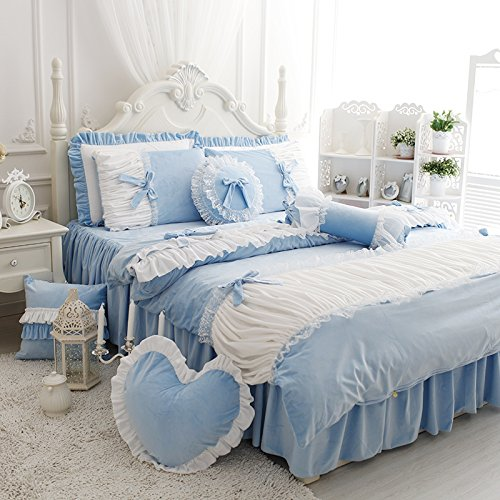 FADFAY Cute Girls Short Plush Bedding Set Romantic White Ruffle Duvet Cover Sets 4-Piece,Blue (Lace Flannel Bedding)