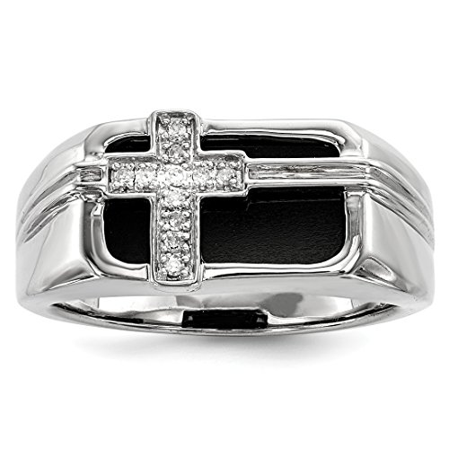 - 925 Sterling Silver Diamond Black Onyx Cross Religious Mens Band Ring Size 9.00 Man Fine Jewelry Dad Mens Gift Set