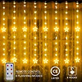 Star Fairy Lights, Connectable Curtain String Icicle Lights with 8 Modes, Remote, 12 Stars 108 LEDs Christmas Lights for Window Indoor Outdoor Wedding Party Christmas Decorations (7.2 x3.3 ft)