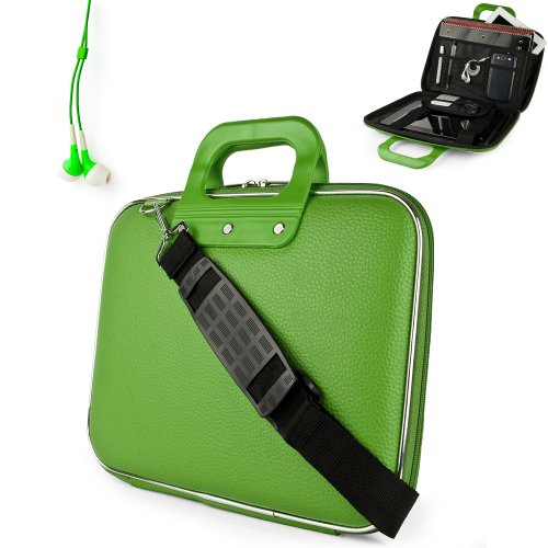 Uniquely designed SumacLife Brand Lime Green Ultra Durable Reinforced 12 Inch Cady Hard Shell Sports Bag for all models of the Samsung Chromebook 11.6 Inch (Samsung Series 5 550 Chromebook, Wifi, 3G, 11.6, XE303C12-A01US) + Earphones (Samsung Chromebook 550)
