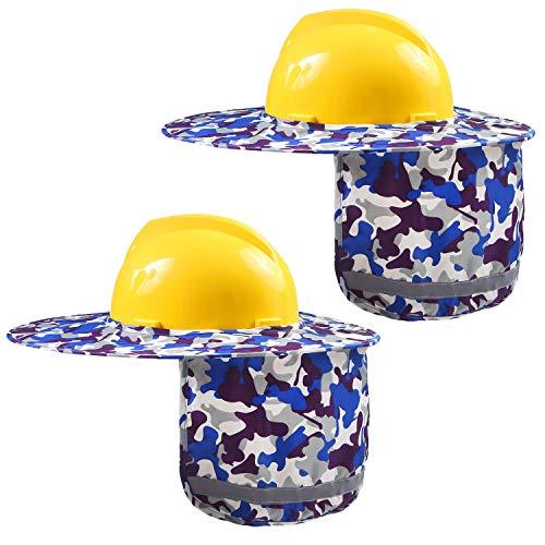 Ruisita 2 Pieces Hard Hat Sun Shield Helmet Full Brim Sun Mesh Neck Shield Sunshade with Reflective Stripe for Hard Hats, Reflective, High Visibility (Blue Camouflage) ()