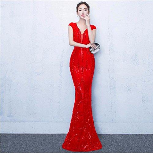 WBXAZL Vestido de Noche, Vestido de Cola de pez, Ladies' Kit de capacitacion, Vestido de Moda Anual Rojo