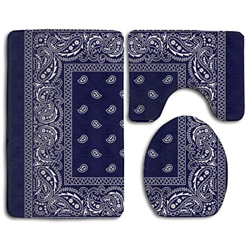 Bandana Navy Blue Southwestern Soft Comfort Flannel Bathroom Mats,Non Slip Absorbent Toilet Seat Cover Bath Mat Lid Cover,3pcs/Set Carpet Rugs