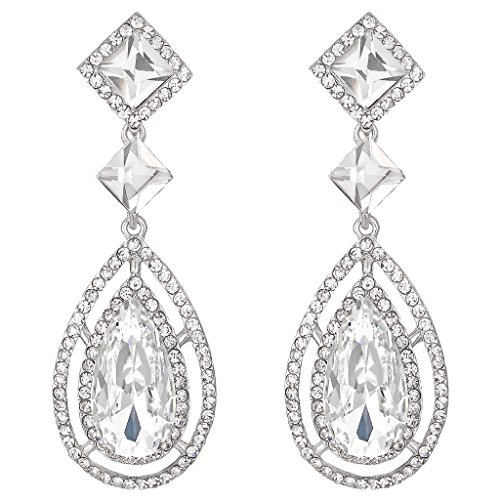 BriLove Women's Wedding Bridal Crystal Faceted Infinity Square Teardrop Hollow Chandelier Dangle Earrings Clear - Crystal Earrings Faceted
