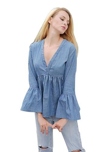 Baymate Mujer Manga Larga Pullover Camiseta Elegant Top Jeans Blusa Escote En V