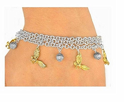 Silver Tone Triple-chain Ball & Golden Eagle, Falcon, Or Hawk Bracelet by Lonestar Jewelry