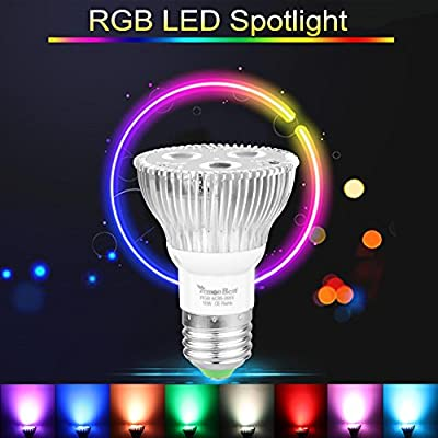 Powstro 10W E27 Dimmable RGB LED Light Bulb 16 Colors Changing Stage Lamp Spotlight with Remote Control For Christmas Decoration,KTV,Patio,AC 85-265V