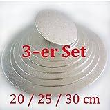 Cake-board-Set 3 tlg. ca. Ø 20/25/30 cm silber, Kuchenplatte rund aus Pappe, Tortenunterlage set