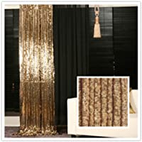 TRLYC 4Ft6.5Ft Hot Sale Gold Shimmer Photography Backdrop Sequin Wedding Curtain