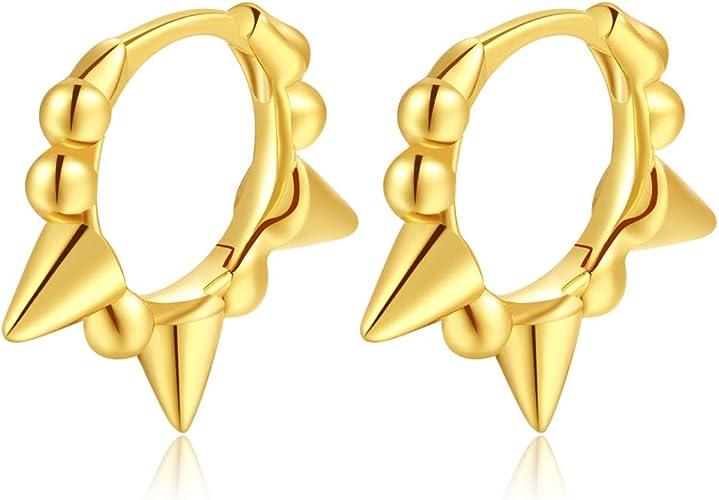 14k Gold Plated Sterling Silver Small Geometric Earrings for Women or Girl Spike Huggie Hoop Earrings
