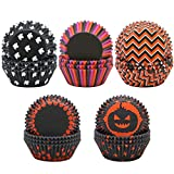 #5: Elcoho 500 Pieces Halloween Cupcake Liners Baking Cups Cupcake Wrappers for Halloween Party Decorations, 5 patterns