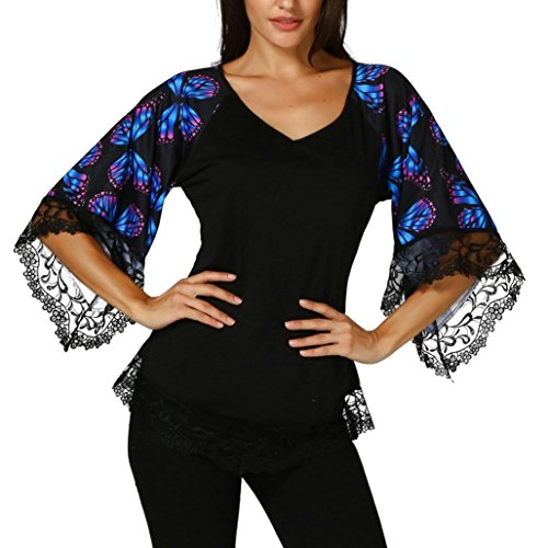 (Sunfei Womens Butterfly Raglan Sleeve T-shirt with Lace Trim Top Blouse (Black,)