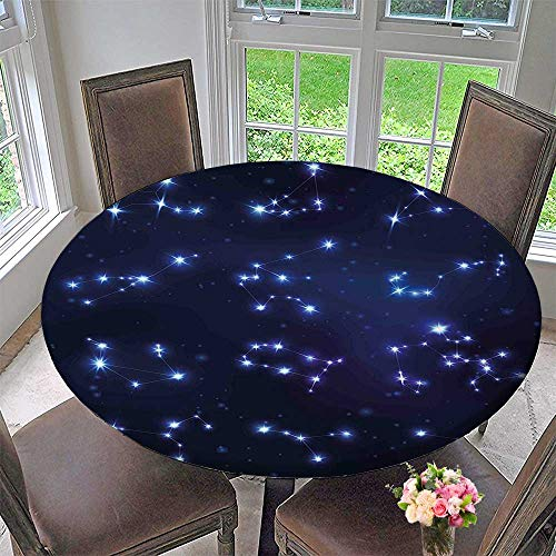 Mikihome Round Fitted Tablecloth Celestial Gemini Leo Pisces Sagittarius Galactic Dark Blue Light Blue Purple for All Occasions 59