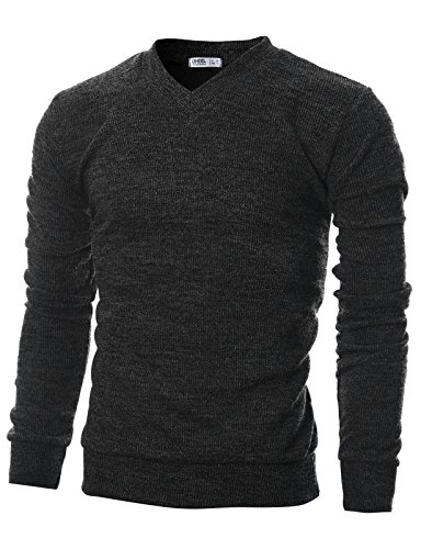 Ohoo Mens Slim Fit Ribbed Fabric Light Weight V-Neck Pullover Sweater/DCP045-CHARCOAL-M by Ohoo
