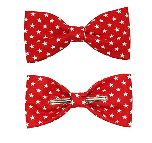 Toddler Boys 3T 4T Red With White Stars Clip On Cotton Bow Tie