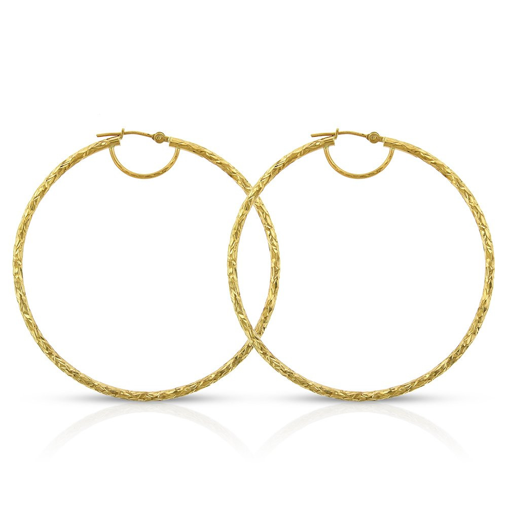 14k Yellow Gold Womens Fancy Diamond Cut Hammered Round Tube Hoop Earrings 2'' by In Style Designz