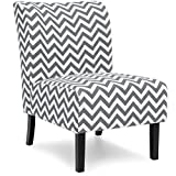Best Choice Products Modern Contemporary Upholstered Armless Accent Chair - Gray/White
