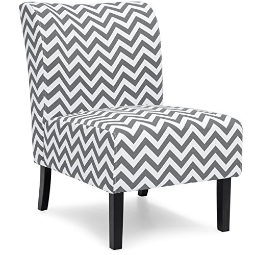 Best Choice Products Modern Contemporary Upholstered Armless Accent Chair - Gray/White - Upholstered Accent Chair