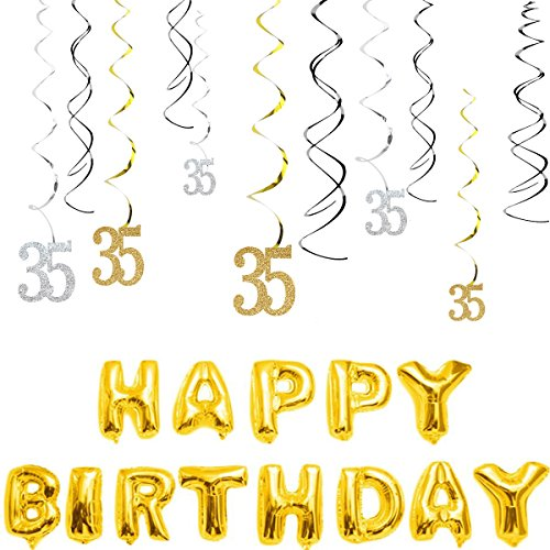 Swirl Gold Glitter - MAGJUCHE 35th Birthday Decorations Kit-Gold Silver Glitter Happy 35 years old Birthday Banner & Sparkling Celebration Hanging Swirls, Party Supplies