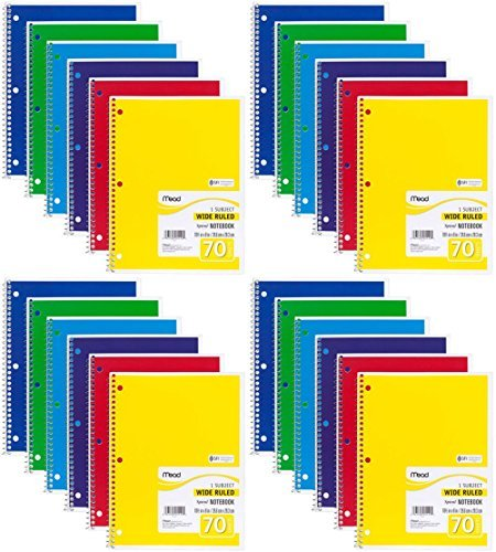 Mead Spiral Notebook, Wide Ruled, 1 Subject, 70 Sheets, 8 x 10.5 Inches, Assorted Colors (05510) Pack of 24