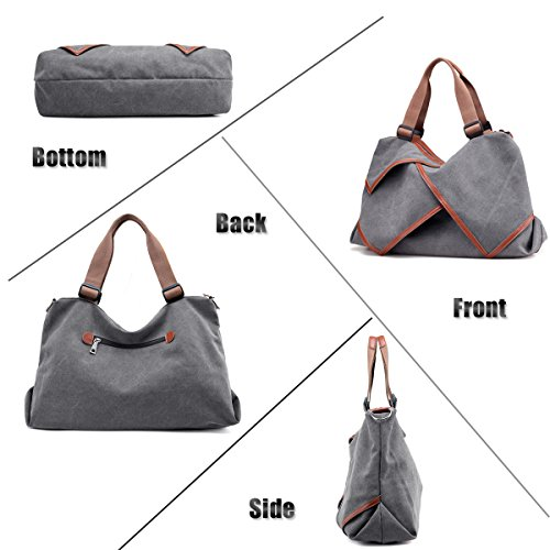 LOSMILE Damen Umhängetasche Canvas Handtasche Schultertaschen Kuriertasche Henkeltaschen Handgelenkstaschen Shopper Tasche. (Grau) Grau