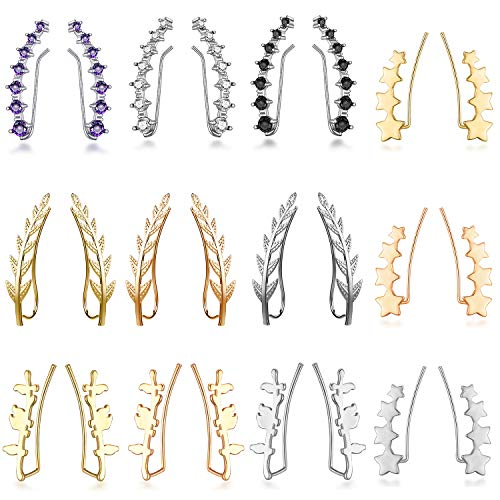 12 Pairs Sliver Gold Ear Climber Studs-7 Crystals Ear Cuffs Stud Climber Earrings Black Rose Glod-Chic Tiny Olive Leaf Ear Climbers Crawler Cuff Trendy Earrings Gift for Women Girls Favors - Leaf Pink Cubic Zirconia