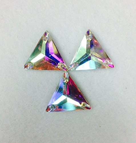 Resin Stone Triangle Crystal Ab Sew on or Glue on Selling Per Pack/120 Pcs(16mmx16mm) by TOP TRIMMING