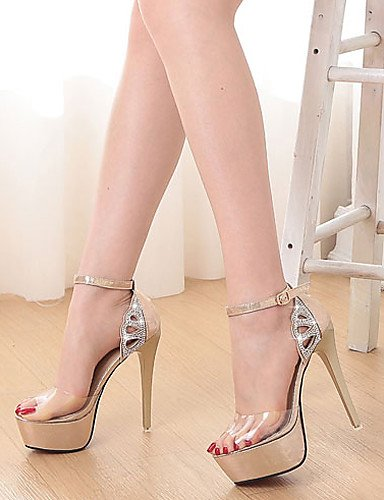 LFNLYX Zapatos de mujer-Tacón Stiletto-Tacones / Punta Abierta / Plataforma-Sandalias-Vestido-Semicuero-Negro / Oro Black