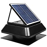 GBGS Solar Attic Fan 1750 CFM, Adjustable Polycrystalline Solar Panel, Rust Free Roof Mounted, Easy Installation, Noise Less Than 45db, 14in Air Duct For Garage, Hot, Environment (20x20x13in)