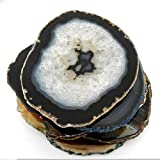 4 (FOUR) Agate Coaster - Brown Black Natural Tones Agate Coasters Rock Paradise COA (AM9B1)