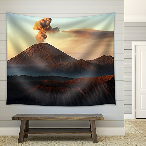 Volcanos Mount Semeru and Mount Bromo in East Java Indonesia Fabric Wall Tapestry