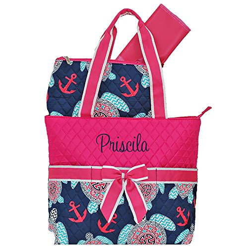 Personalized Navy Turtle Pink Trim | Quilted Infants Baby Diaper Bag with 3 Piece Set | Personalize as Shown ()