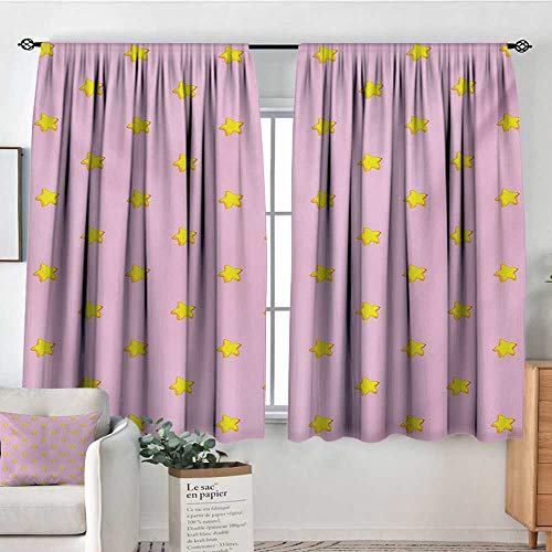 Stars Room Darkening Curtains Pastel Cartoon Illustration of Heavenly Bodies on an Abstract Pink Background Drapes for Living Room 55