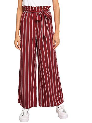 Floerns Women's Frilled Waist Striped Print Palazzo Pants Red and White XS