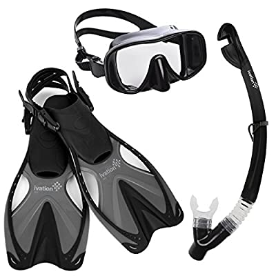 Diving Gear - Snorkel Mask & Fins Set - Includes Single Lens Frameless Lens Snorkel Mask; Snorkel w/Dry Top & Lower Purge Valve; & Adjustable Speed Fins
