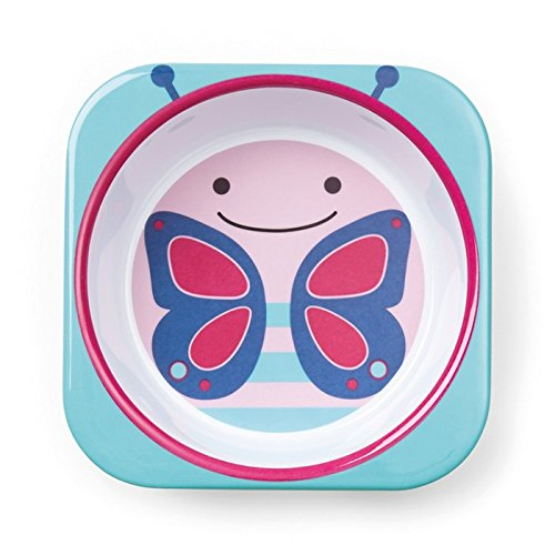 Skip Hop Baby Zoo Little Kid and Toddler Melamine Feeding Bowl, Multi Blossom Butterfly