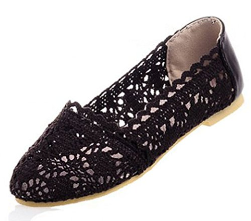 Aisun Women's Comfy Floral Knitting Hollow Out Slip On Loafers Flats Shoes Brown