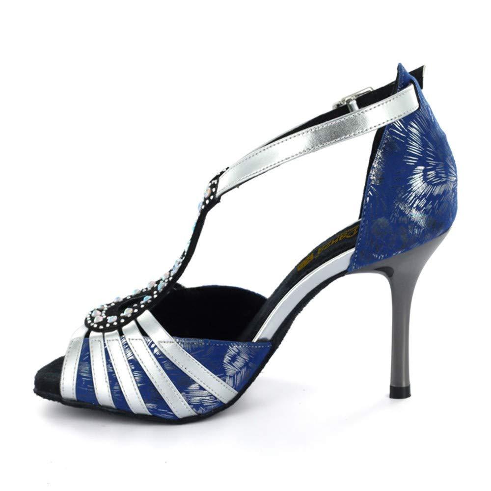 8.5cm HCCY Forage Chaud Bleu Chaussures de Danse Latine Dames en Salle Chaussures de Danse personnalité Unique Semelle Souple 41 EU