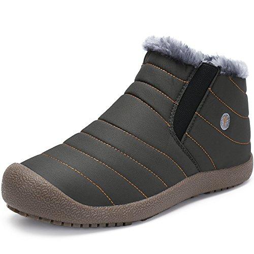 ukStore Warm Gefüttert Winterschuhe Outdoor Winterstiefel Kurzschaft Stiefel Schneestiefel Boots Herren Damen Schlupfstiefel Grau