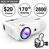 DR. J Professional 2800 Brightness Home Theater Mini Projector Max. 170' Display, Full HD LED Projector 1080P/HDMI/VGA/USB/TF/AV/Sound Bar/ Video Games/TV 1080P Support (White)