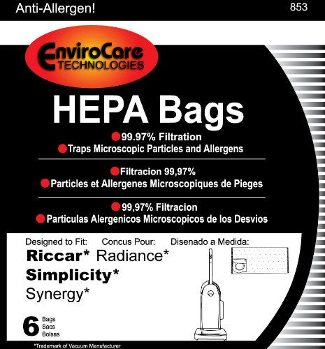 Riccar Radiance HEPA Vacuum Cleaner Bags, 6 Bags per Package, Appliances for Home