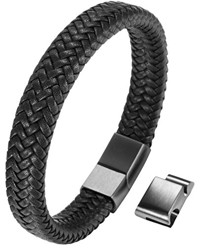 Braided Cable Bracelet (OSTAN Mens Bracelet Stainless Steel Braided Real Leather Bracelet with Cables Bracelet For Men (8.46))