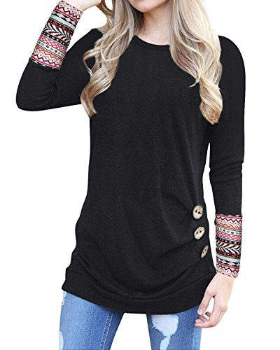 KILIG Long Sleeve Tunic for Women O-Neck Patchwork Casual Loose Blouse Button Side Tunic Tops(Black,XL) by KILIG