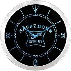 Miller High Life Happy Hour Bar 3D Neon Sign LED Wall Clock NC0066-B