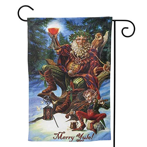 MINIOZE Yule Merry Christmas Yuletide Pagan Themed Welcome Extra Big Large Jumbo for Party Outdoor Outside Decorations Ornament Picks Garden Yard Decor Double Sided 12.5 X 18 Flag
