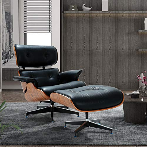 Mid Century Lounge Chair with Ottoman,Modern Classic Design,Palisander Wood Natural Leather,Heavy Duty Base Support for Living Room(Black ()